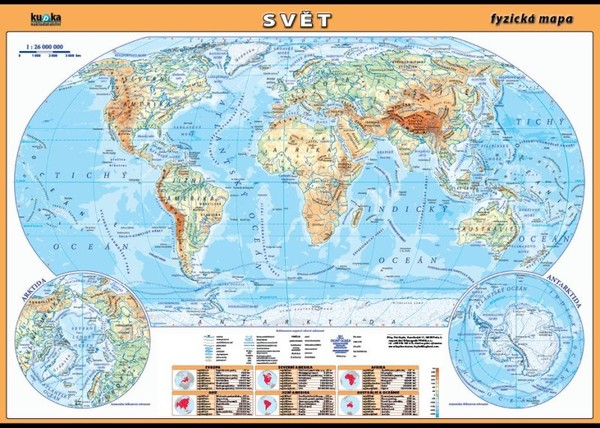 Svět - fyzická mapa (100 x 70 cm)