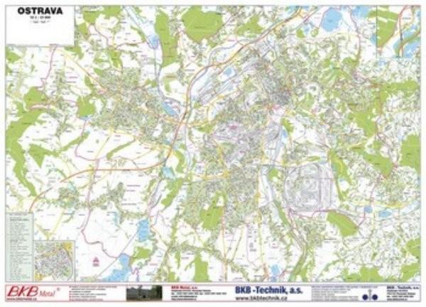 Ostrava - nástěnný plán města (160 x 110 cm)
