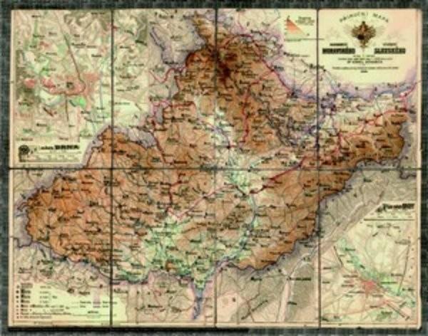 Morava a Slezsko - dekorativní nástěnná mapa (90 x 70 cm)