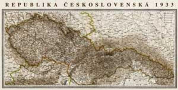 Československo 1933 - nástěnná mapa