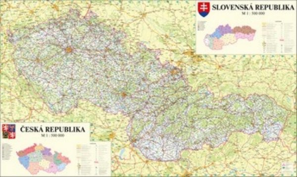 Nástěnná mapa České a Slovenské republiky (160 x 110 cm)