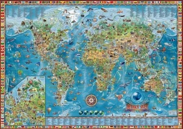 Dětská mapa světa (nástěnná 138 x 98 cm)