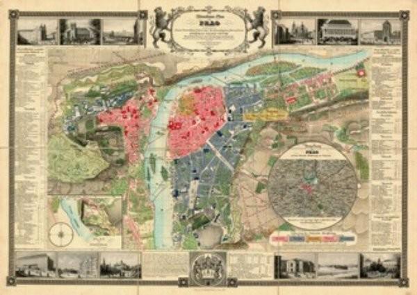 Praha 1847 - dekorativní nástěnná mapa (140 x 100 cm)