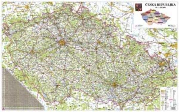Česká republika - silniční nástěnná mapa (160 x 110 cm)
