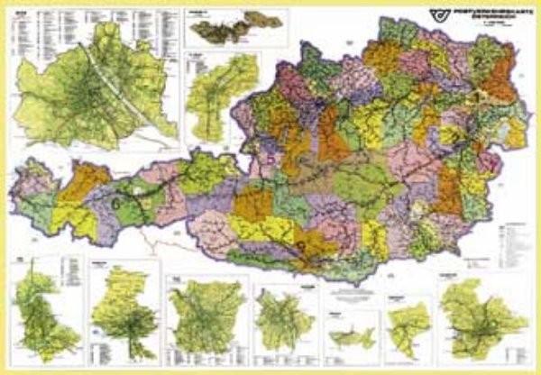 Rakousko - spediční nástěnná mapa (120 x 85 cm)