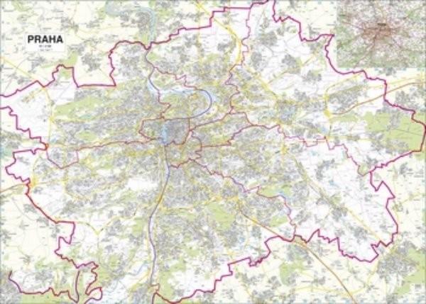 Praha - nástěnný plán města (155x110 cm)