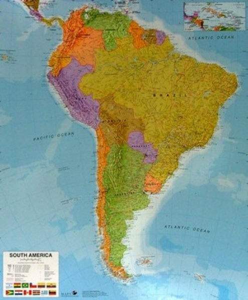 Jižní Amerika - nástěnná mapa (120 x 100 cm)