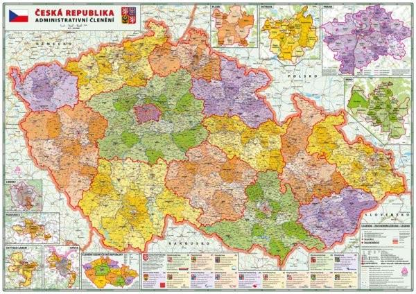 Česká republika - nástěnná administrativní velká (160 x 114 cm)
