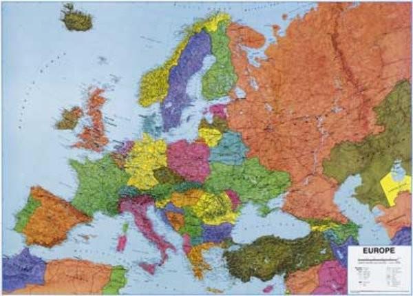 Mapa Evropy - nástěnná mapa (140 x 100 cm)