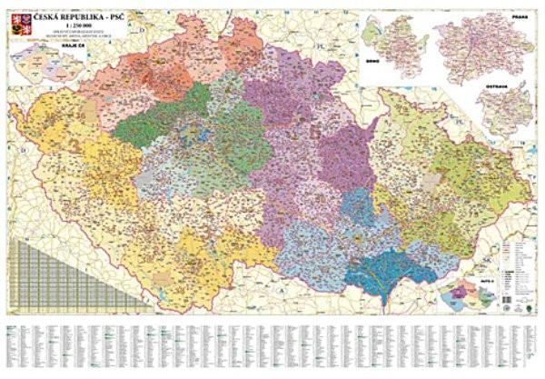 Česká republika - nástěnná mapa PSČ velká (2 x 1,4 m)