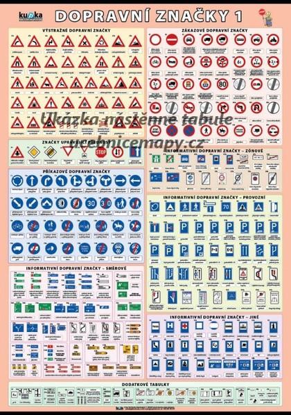Dopravní značky (nástěnná tabule 100x70 cm) 1.část