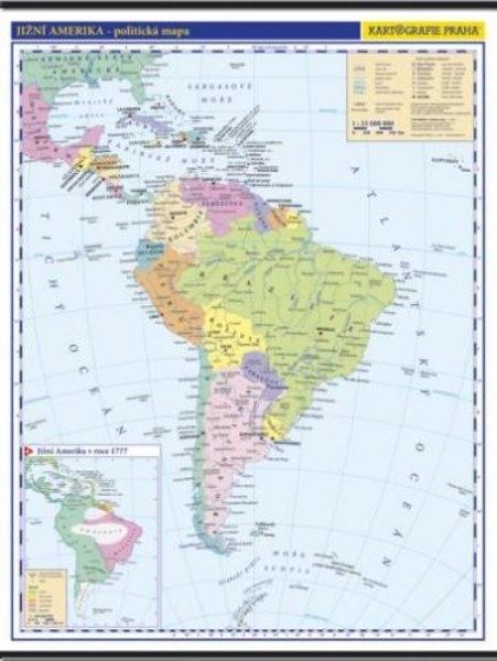 Jižní Amerika - nástěnná politická mapa školní