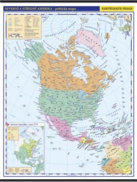Severní a Střední Amerika - nástěnná politická mapa školní