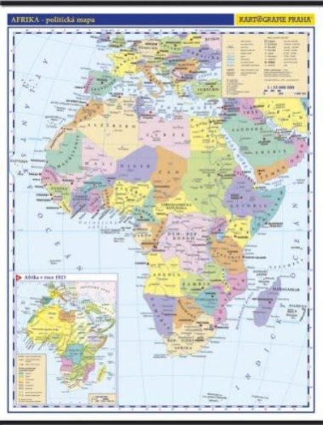 Afrika - nástěnná politická mapa školní