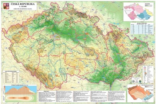 Česká republika - obecně zeměpisná mapa